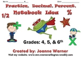 Fractions, Decimals, Percents Notebook Idea