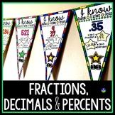 Converting Fractions, Decimals & Percents Math Pennant Activity