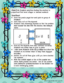 Fractions, Decimals, Percents Puzzle Set