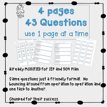 Fractions, Decimals, Percents, Real World Problems 504 IEP Tests