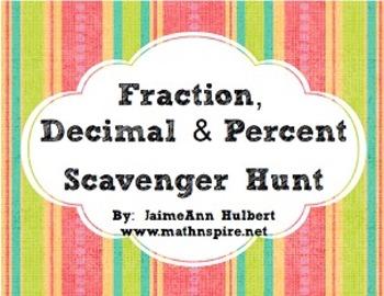 Fractions, Decimals & Percents {Scavenger Hunt}