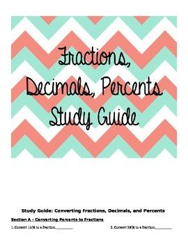 Fractions, Decimals, Percents Study Guide/Test/Worksheet