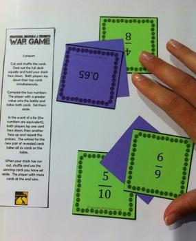 Fractions, Decimals, & Percents - War Games