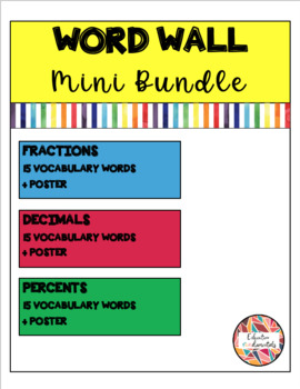 Fractions, Decimals & Percents - Word Wall BUNDLE (Math Literacy)
