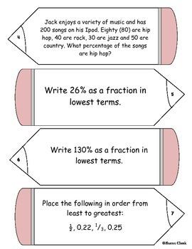 Fractions, Decimals, Percents, and Percent Equation Task Cards