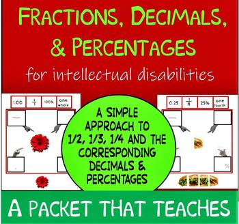 Fractions, Decimals & Percents for Intellectual Disabilities, NO PREP NO WORDS