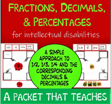 NO PREP Visual Fractions, Decimals & Percents for Intellectual Disabilities