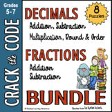 Fractions & Decimals Computation Practice - Crack the Codes BUNDLED!