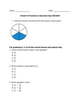 Fractions & Decimals Quiz Review