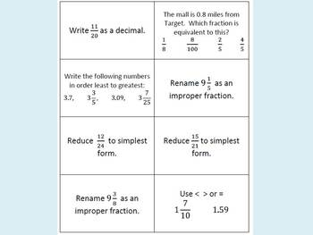 Fractions & Decimals Review Game