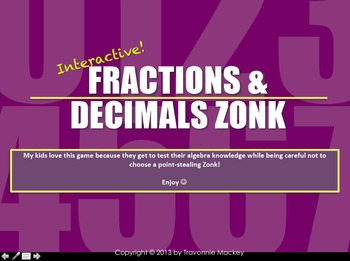 Fractions & Decimals Review Game (Zonk)