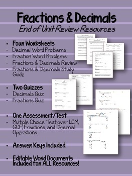 Fractions & Decimals Review Worksheets, Quizzes, and Test