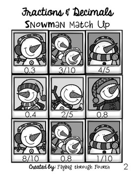 Fractions & Decimals: Snowman Match-Up Math Center Game
