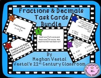 Fractions & Decimals Task Card Bundle