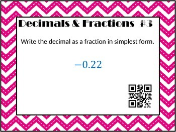 Fractions & Decimals Task Cards with QR Codes