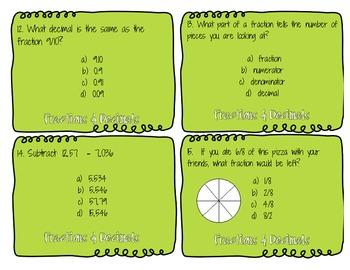 Fractions & Decimals Task Cards
