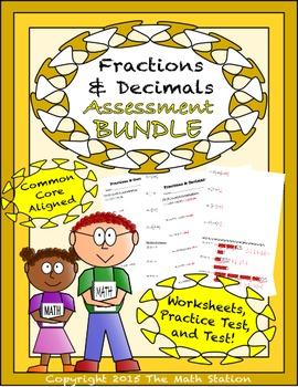Fractions & Decimals Worksheets & Test - 6th Grade