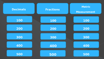Fractions, Decimals, and Metric Measurement Jeopardy