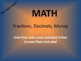 Math Unit - Fractions Decimals and Money - TPA Approved