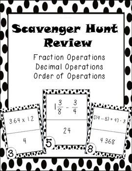 Fractions, Decimals, and Order of Operations Scavenger Hunt