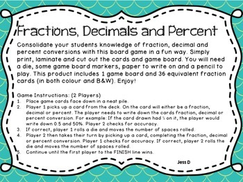 Fractions Decimals and Percent Conversion Board Game