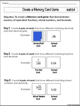 Fractions, Decimals, and Percent Project: Make a Memory Card Game