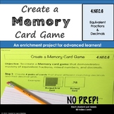 Fractions and Decimals Project: Make a Memory Card Game