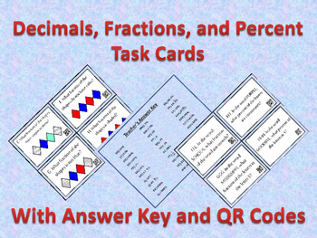 Fractions, Decimals, and Percent Task Cards with Answer Sh