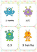 Fractions, Decimals and Percentages Flash Card Game GO ALIEN