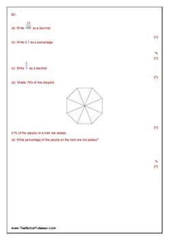 Fractions Decimals and Percentages - Test Practice Questions