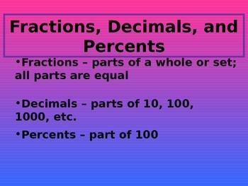 Fractions, Decimals, and Percents