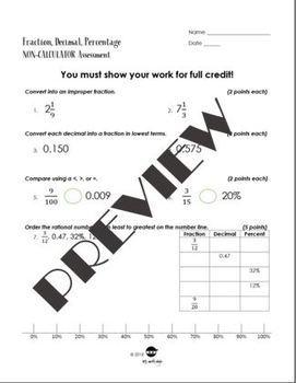 Fractions, Decimals, and Percents Assessment