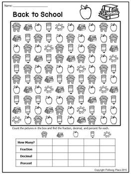 Fractions Decimals and Percents - 100 Little Pictures - Back to School Activity