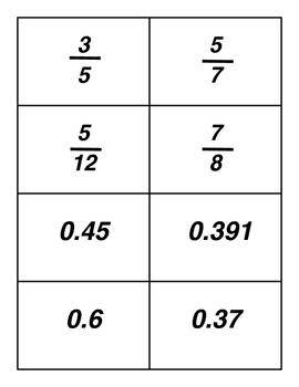Fractions, Decimals, and Percents Card Game