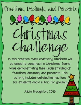 Fractions, Decimals, and Percents Christmas Challenge