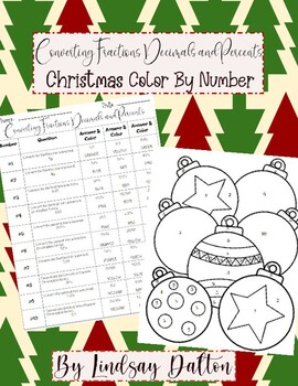 Fractions, Decimals, and Percents Christmas Color By Number