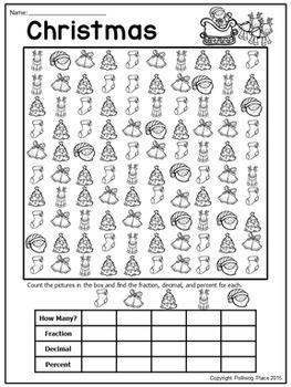 Fractions Decimals and Percents: Christmas Math Activity