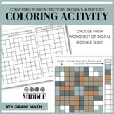 Fractions, Decimals, and Percents Coloring Activity