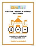 Converting Fractions, Decimals, and Percents Coloring Activity