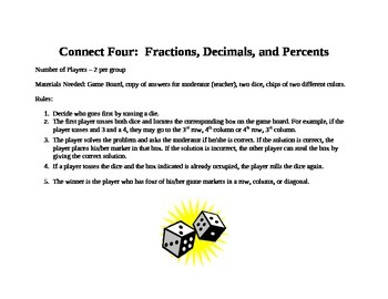 Fractions, Decimals, and Percents Connect Four