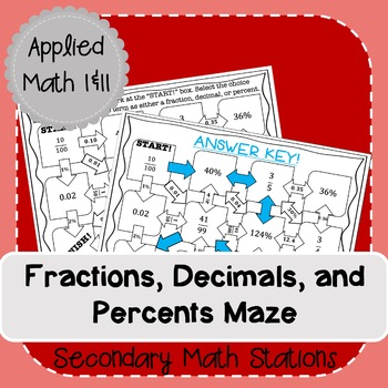Fractions, Decimals, and Percents Conversion Maze