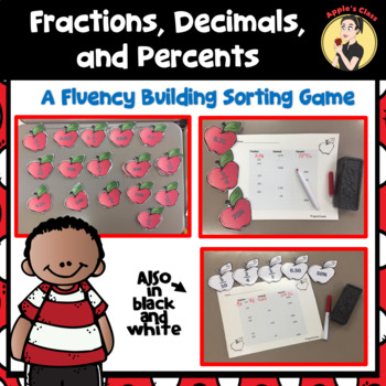 Fractions, Decimals, and Percents Fluency Sorting Game