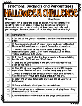 Fractions, Decimals, and Percentages Halloween Challenge