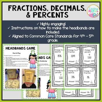 Fractions, Decimals, and Percents - Headbands Game