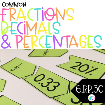 Fractions, Decimals and Percents Match CCSS 6.RP.3c Aligned**