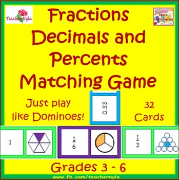 Fractions Decimals Percents Matching Dominoes Card Game