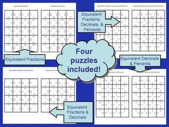 Fractions, Decimals, and Percents Matching Puzzles