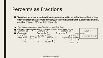 Fractions,  Decimals, and Percents PPT  Lesson