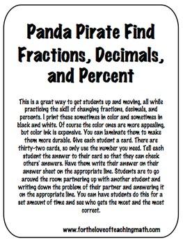 Fractions, Decimals, and Percents Panda Pirate Find