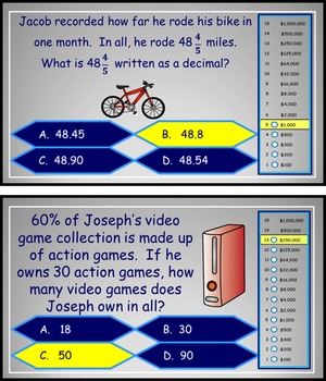 Fractions, Decimals, and Percents Power Point Millionaire Game 6th Grade